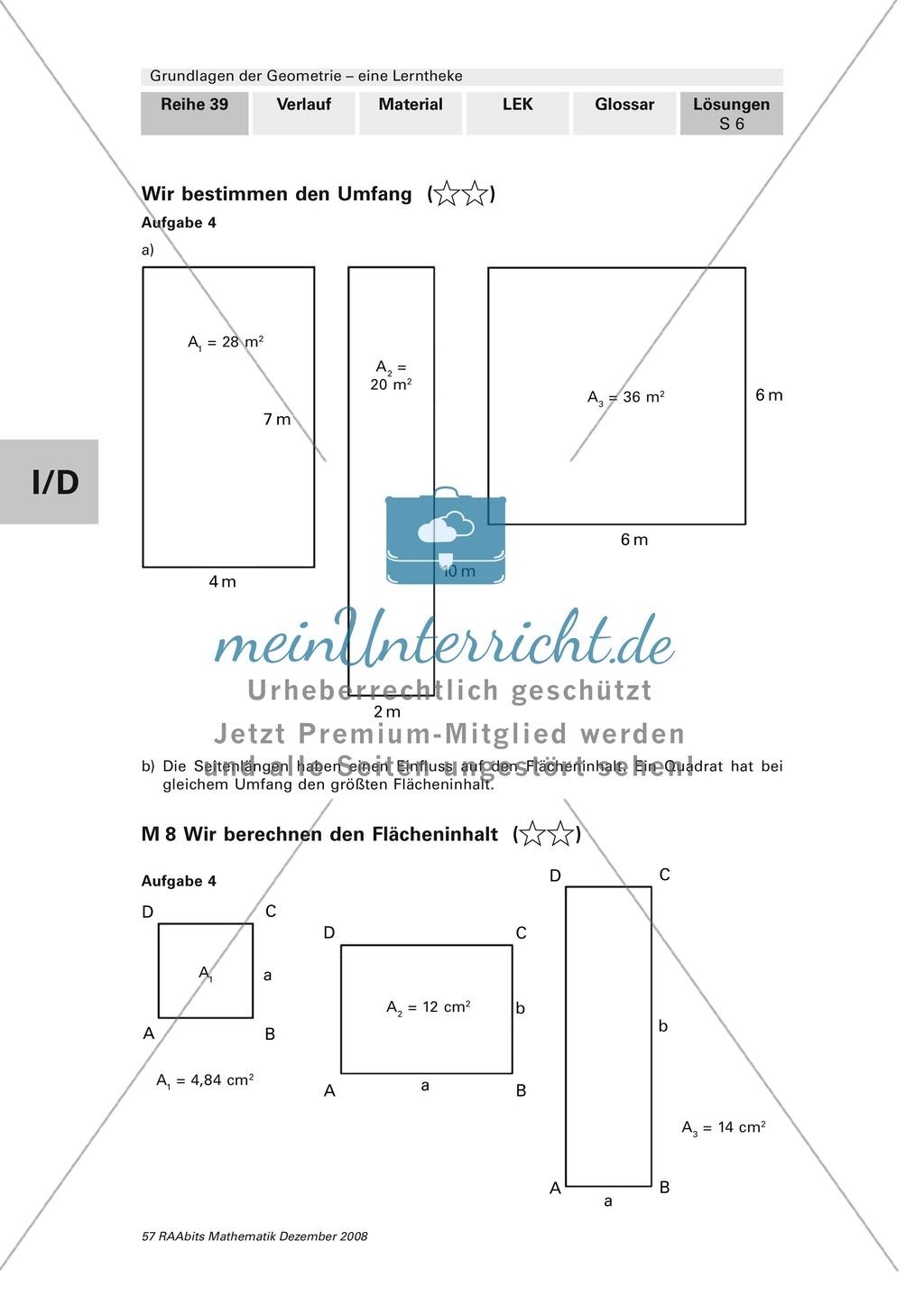 Geometrie: Lerntheke mit Selbsttest und differenzierenden Aufgaben mit Lösungen zum Thema Flächen, Flächeneinheiten und Umfang Preview 25