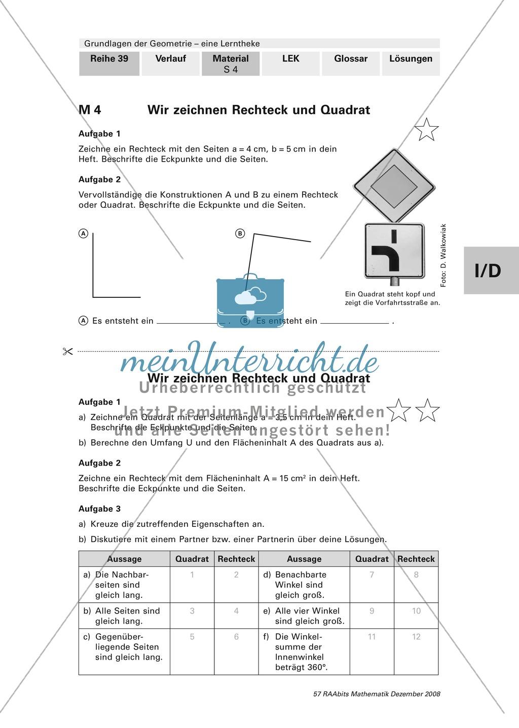 Geometrie: Lerntheke mit Selbsttest und differenzierenden Aufgaben mit Lösungen zum Thema Flächen, Flächeneinheiten und Umfang Preview 4