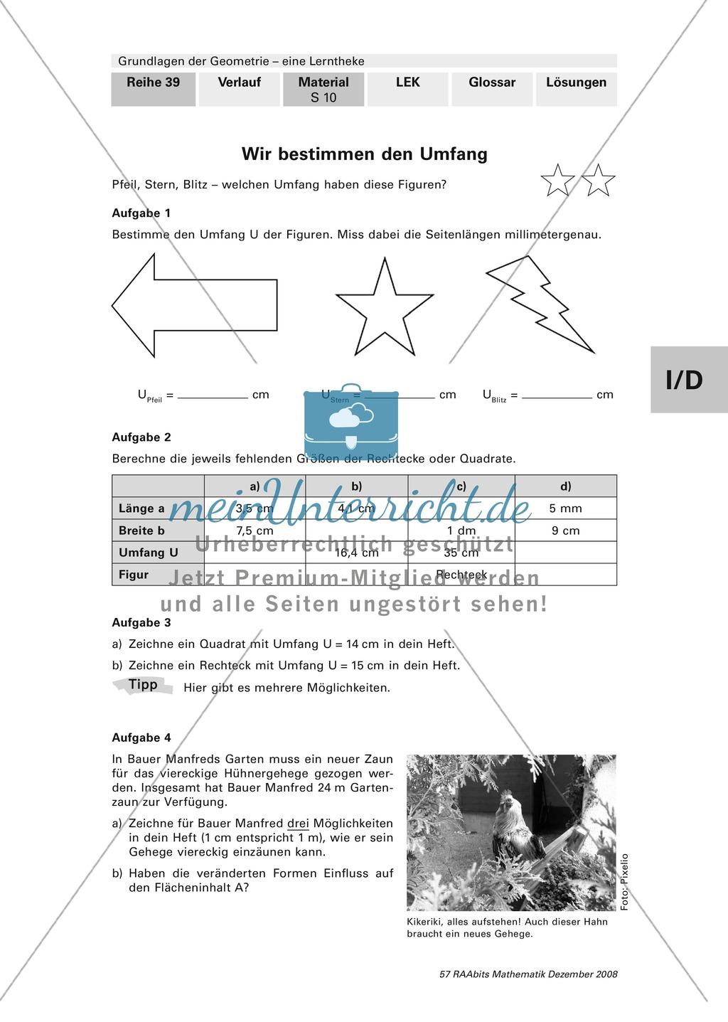 Geometrie: Bestimmung von Flächeninhalt und Umfang. Mit Aufgaben und ...