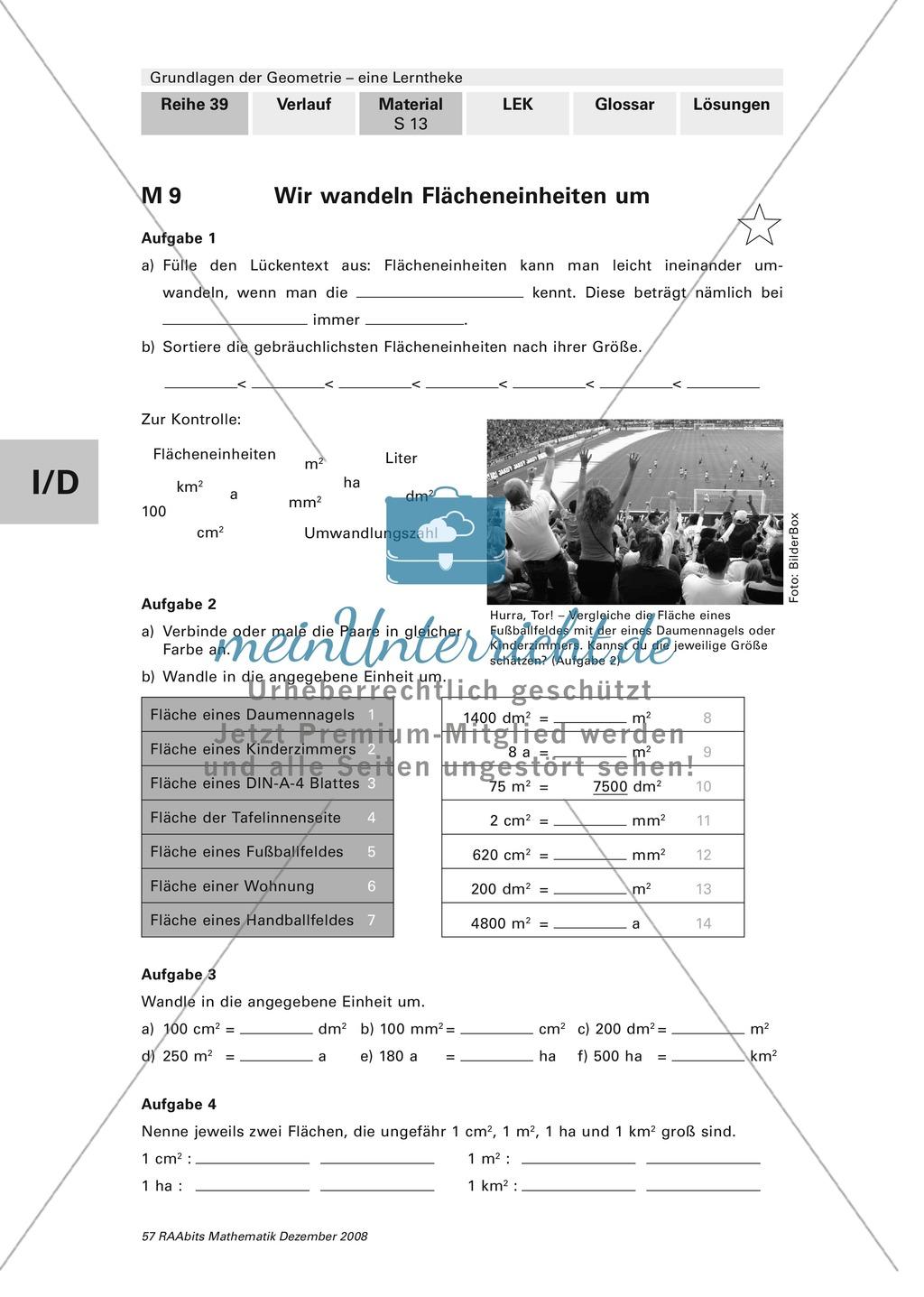 Geometrie: Bestimmung von Flächeninhalt und Umfang. Mit Aufgaben und Lösungen. Preview 5