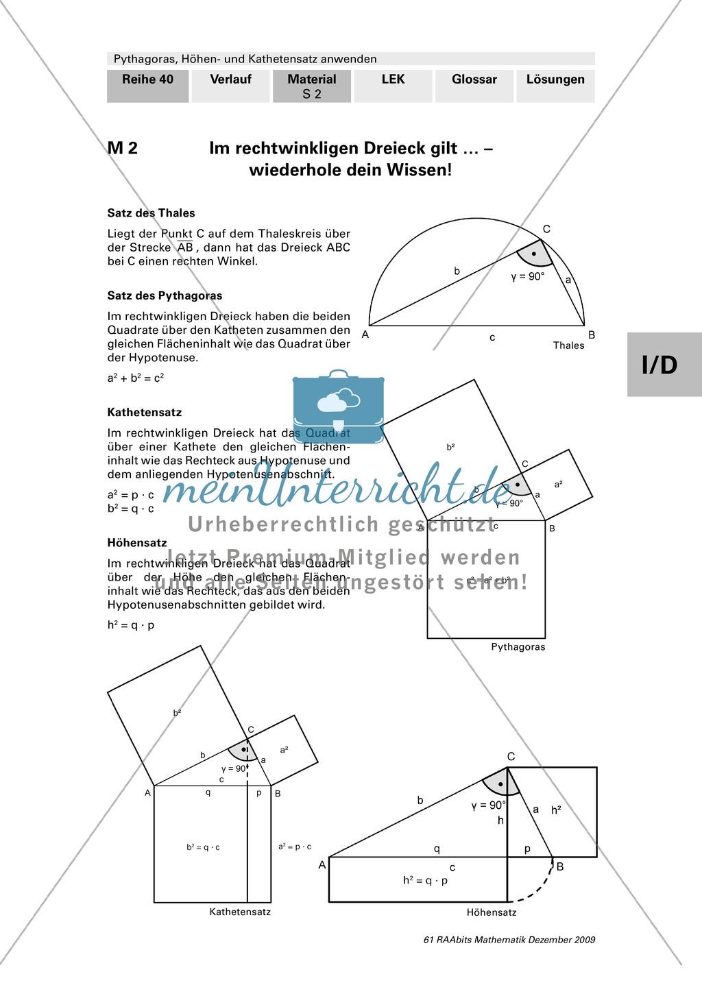 Geometrie: Die grafische Herleitung des Satz des Pythagoras und Anwendungsaufgaben mit Lösungen Preview 2