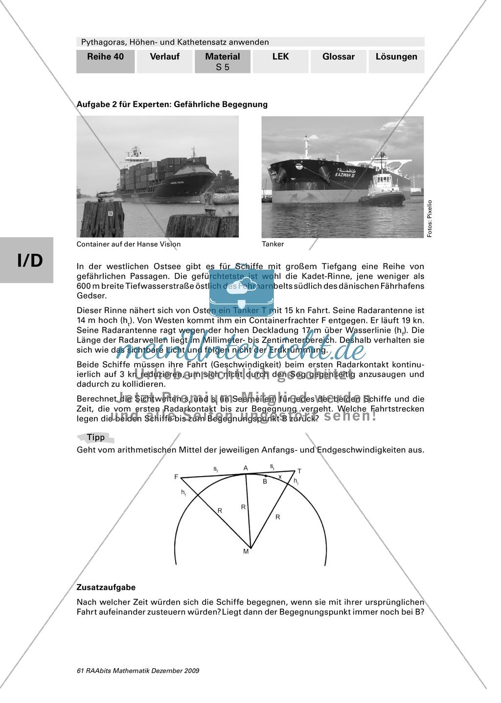 Geometrie: Die grafische Herleitung des Satz des Pythagoras und Anwendungsaufgaben mit Lösungen Preview 5