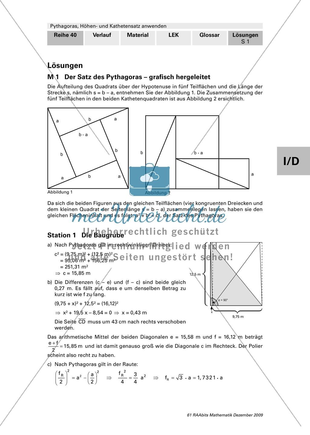 geometrie die grafische herleitung des satz des pythagoras und anwendungsaufgaben mit l sungen. Black Bedroom Furniture Sets. Home Design Ideas