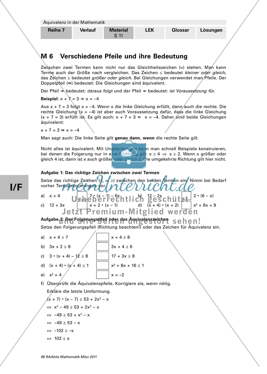 Übungen mit Lösungen zur Äquivalenzumformung - meinUnterricht