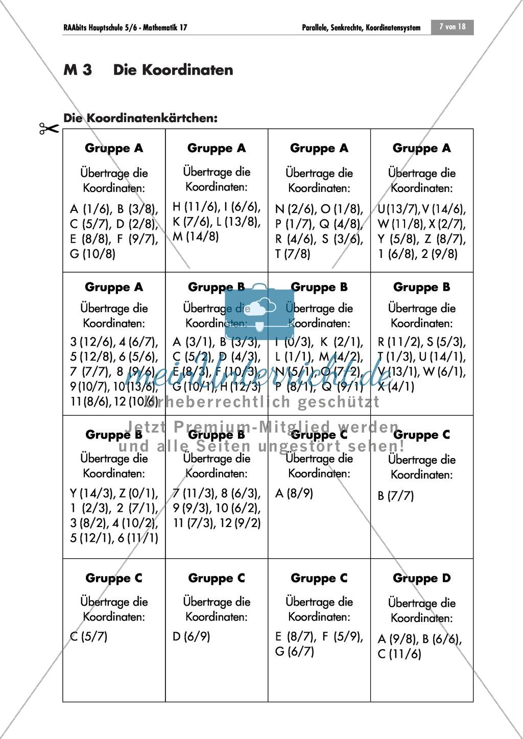 Analysis: Schatzsuche im Koordinatensystem in Gruppenarbeit. Mit ...