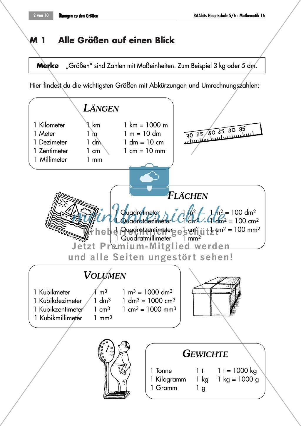 Größen: Übersichtsblatt mit den verschiedenen Maßeinheiten für Länge ...