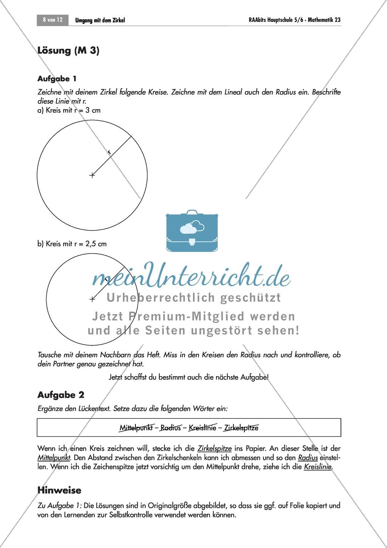 Geometrie: Übungen mit Lösungen zum Umgang mit dem Zirkel und den ...