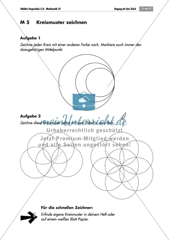 geometrie bungen mit l sungen zum umgang mit dem zirkel und den eigenschaften vom kreis. Black Bedroom Furniture Sets. Home Design Ideas