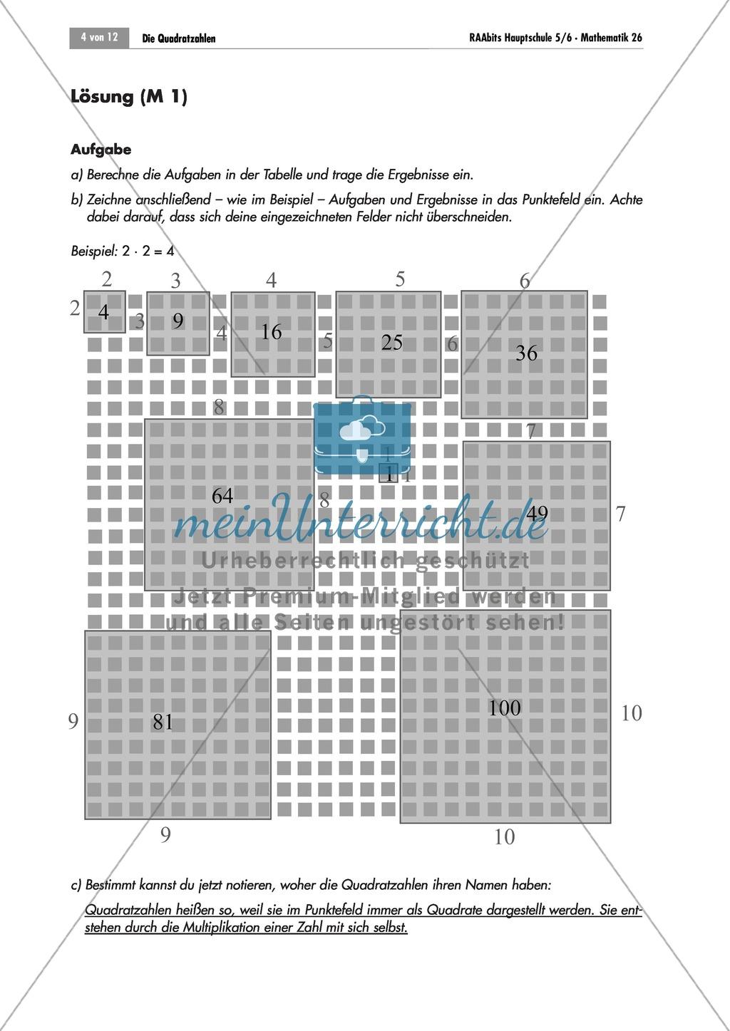 Algebra: Infomaterial und Übungen zu Quadratzahlen. Mit Lösungen ...