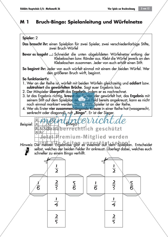 bruchrechnen bingospiel zu addition und subtraktion von