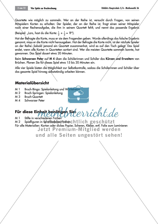 Bruchrechnen: Quartett und Schwarzer Peter zur Addition, Subtraktion ...