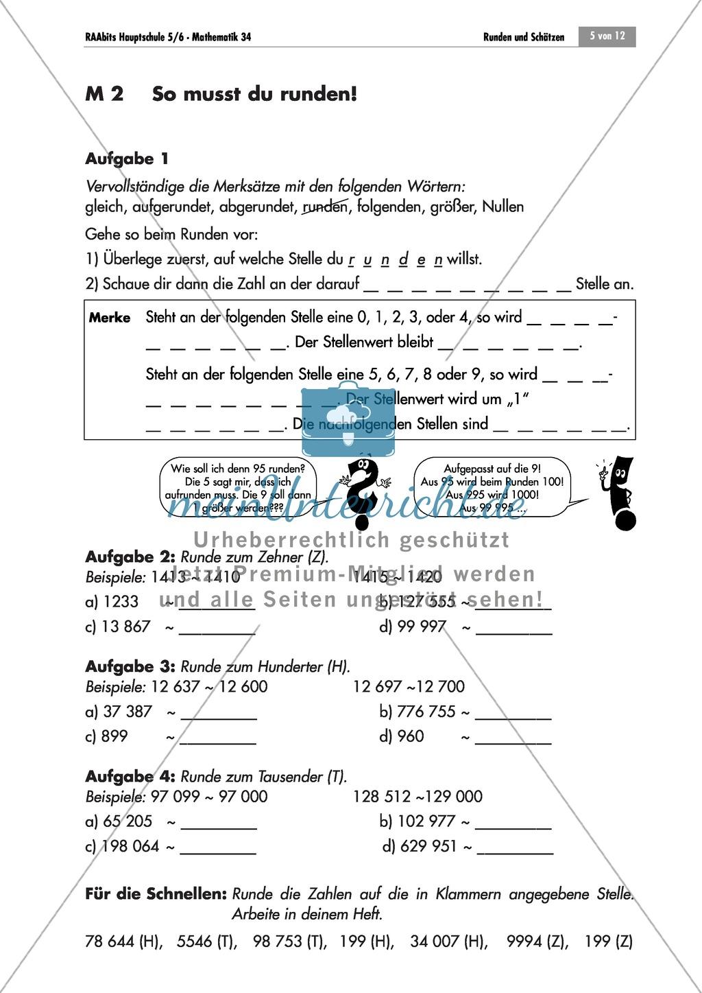 Arbeitsblatt Geldbeträge Runden : Unterrichtseinheit zum runden und schätzen mit aufgaben