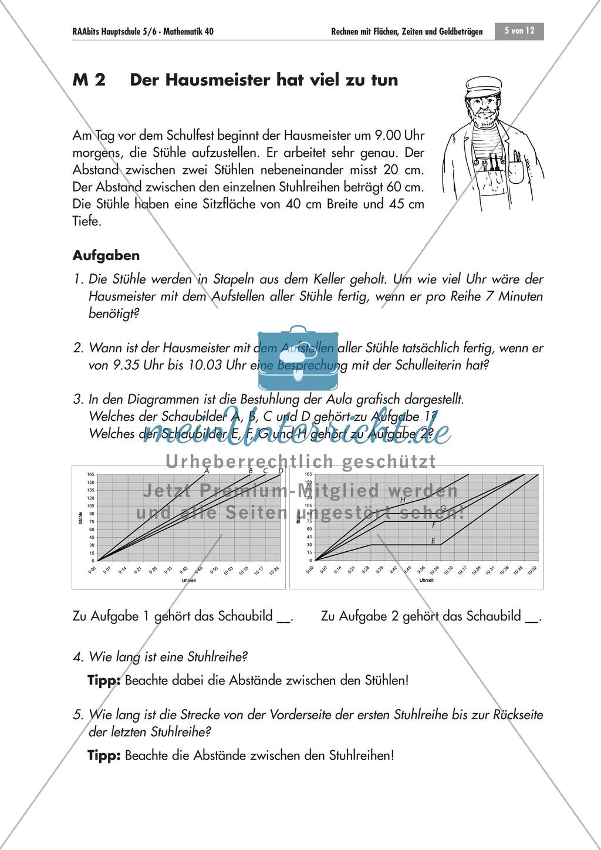 Sachaufgaben zum Umgang mit Diagrammen. Mit Aufgaben und Lösungen. Preview 1