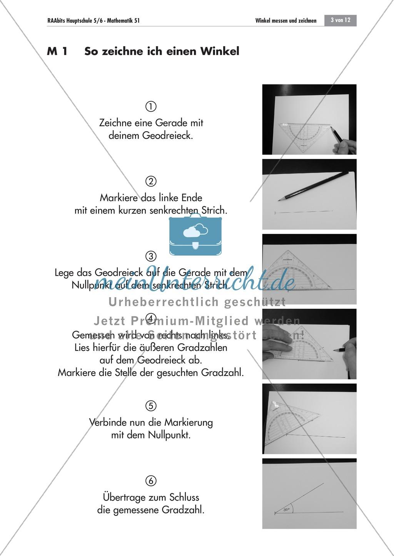 Geometrie: Infoblätter zum Zeichnen und Messen von Winkeln mit dem Geodreieck. Preview 0