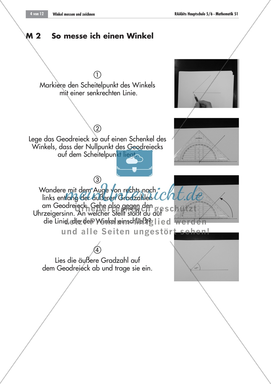 Geometrie: Infoblätter zum Zeichnen und Messen von Winkeln mit dem Geodreieck. Preview 1