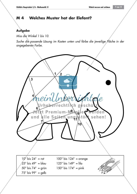 Geometrie: Aufgaben zum Messen und Zeichnen von Winkeln mit dem ...