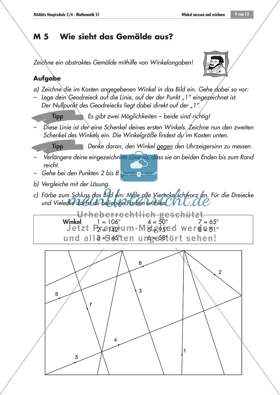 Geometrie: Aufgaben zum Messen und Zeichnen von Winkeln mit dem Geodreieck. Mit Lösungen. Preview 2