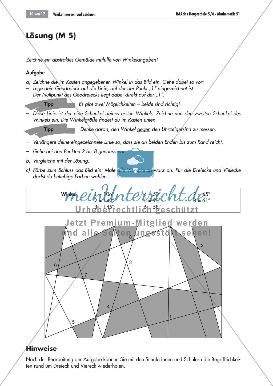 Geometrie: Aufgaben zum Messen und Zeichnen von Winkeln mit dem Geodreieck. Mit Lösungen. Preview 3