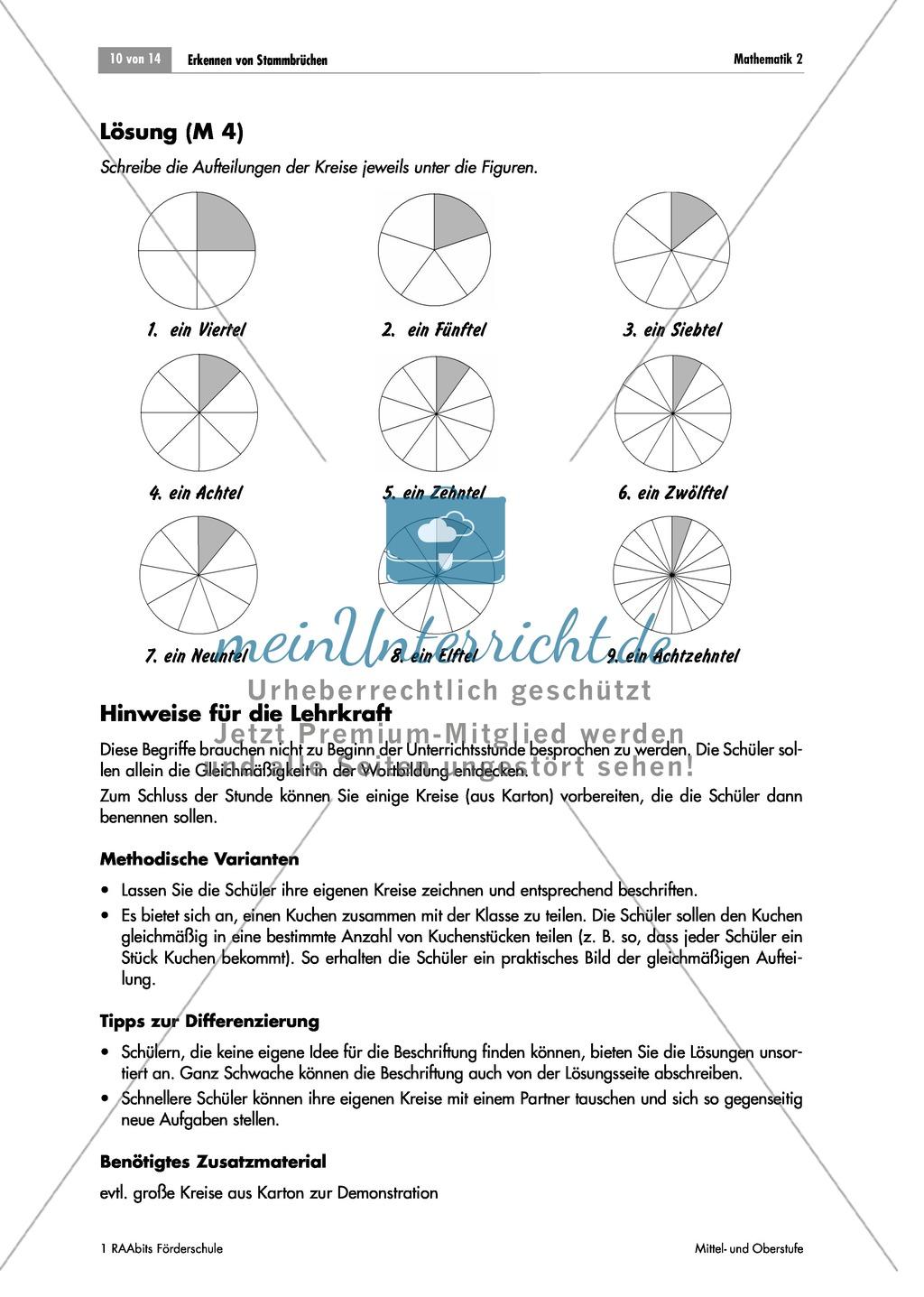 Preview 0 Bruchrechnung: Brüche An Kreisen Darstellen Und Erkennen. Mit  Aufgaben Und Lösungen.