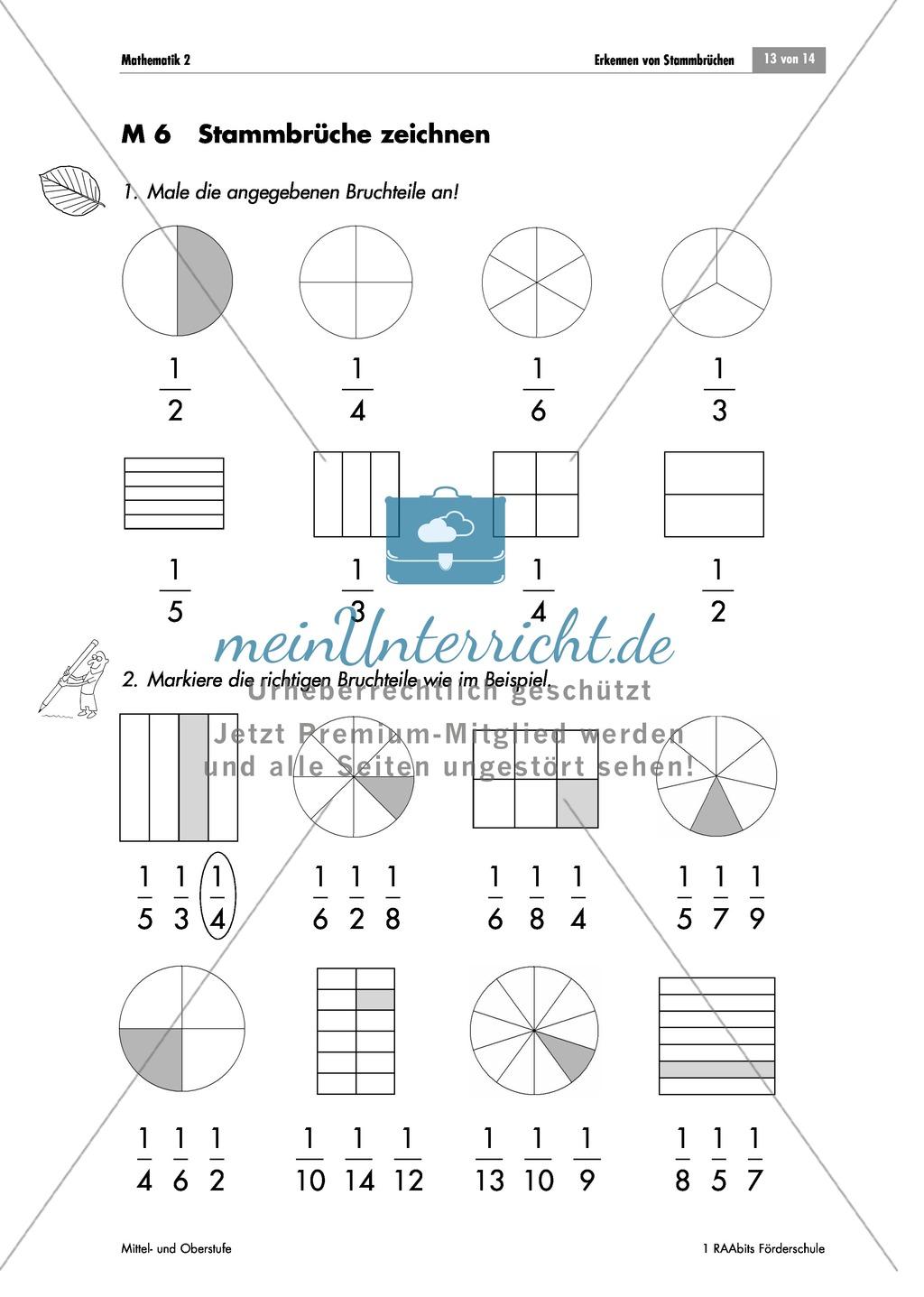Preview 3 Bruchrechnung: Brüche An Kreisen Darstellen Und Erkennen. Mit  Aufgaben Und Lösungen.