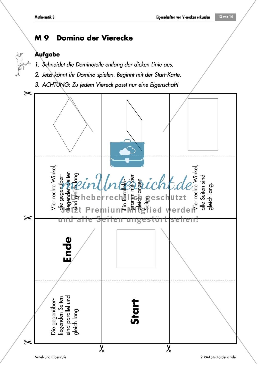 Geometrie: Domino über die Eigenschaften von Quadrat, Rechteck ...