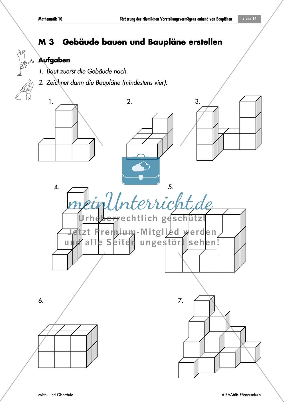Förderung des räumlichen Vorstellungsvermögens: einen Bauplan mit ...