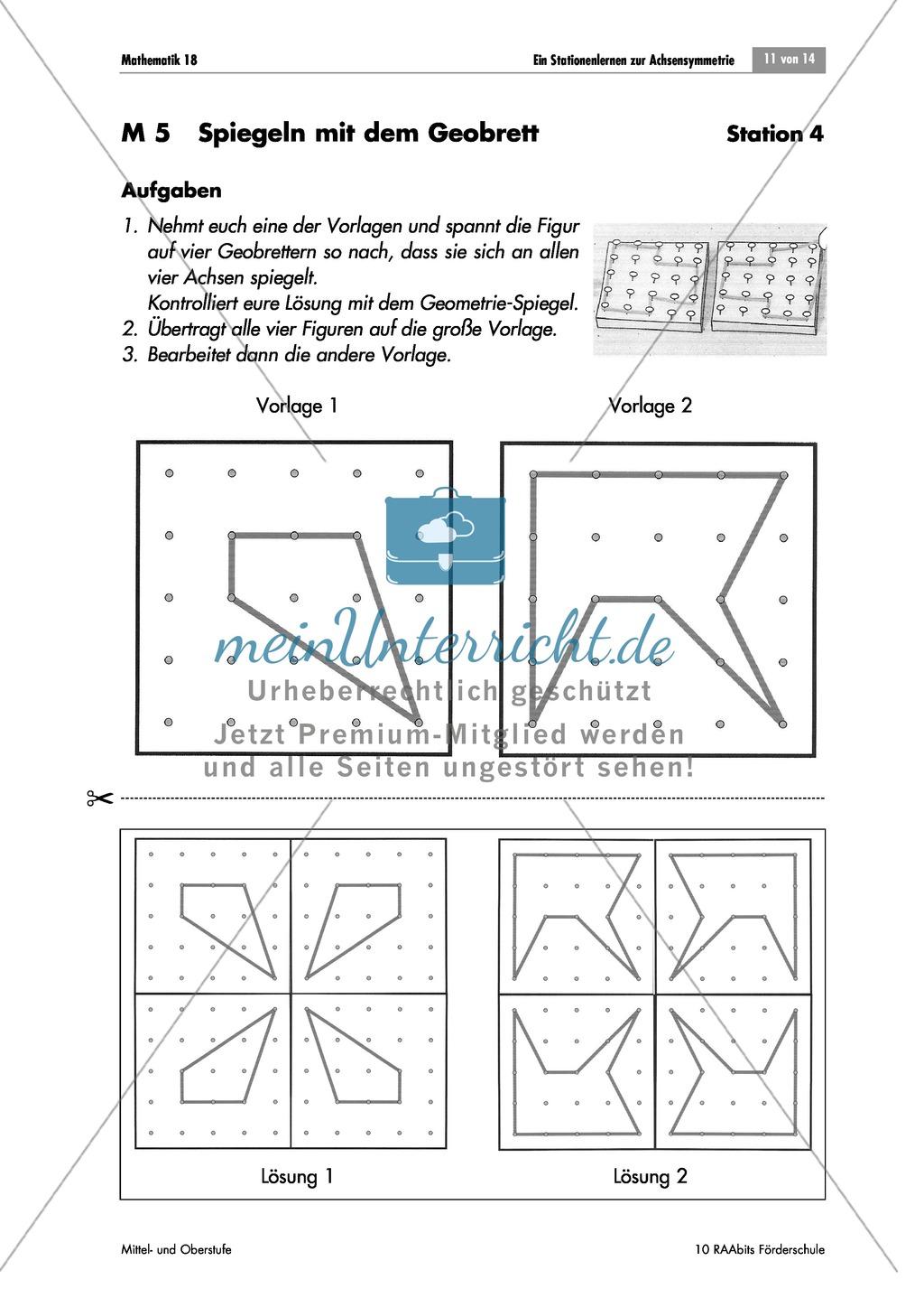 stationenarbeit zur achsensymmetrie meinunterricht. Black Bedroom Furniture Sets. Home Design Ideas