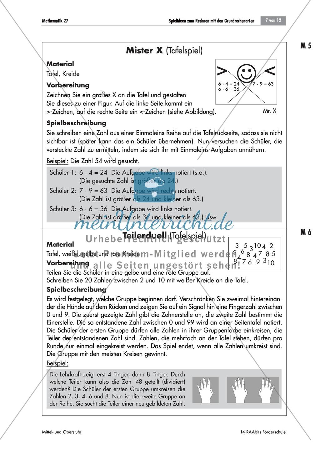 Tafelspiele zum Rechnen mit Grundrechenarten: Multiplizieren und ...