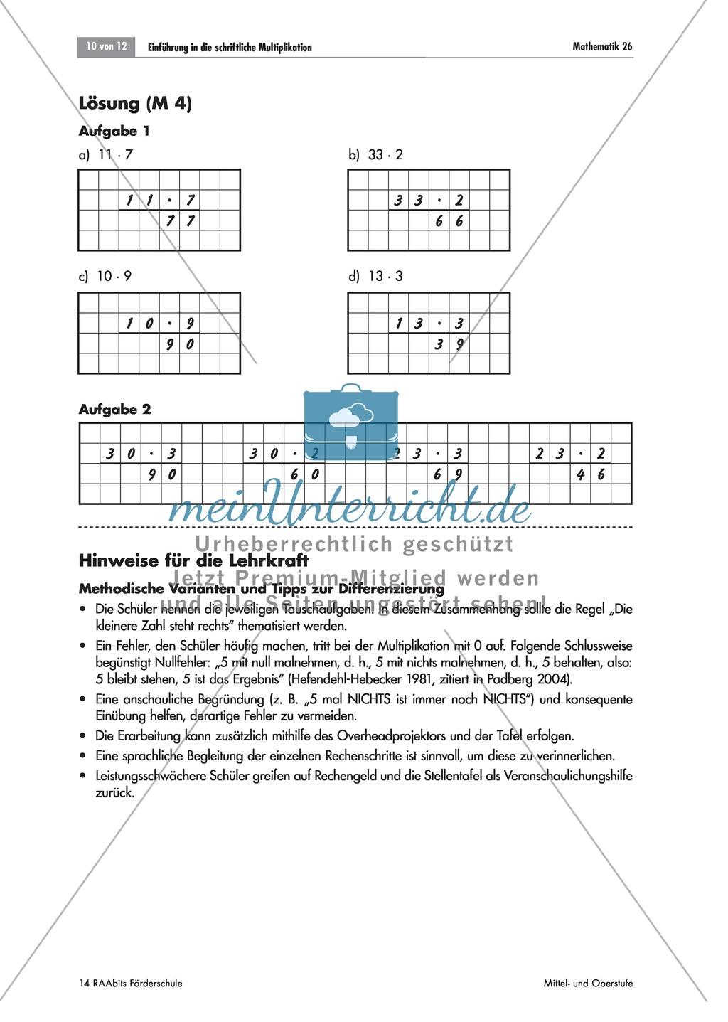 tafelbilder zur einf hrung in die schriftliche multiplikation bis 100 mit und ohne stellentafel. Black Bedroom Furniture Sets. Home Design Ideas