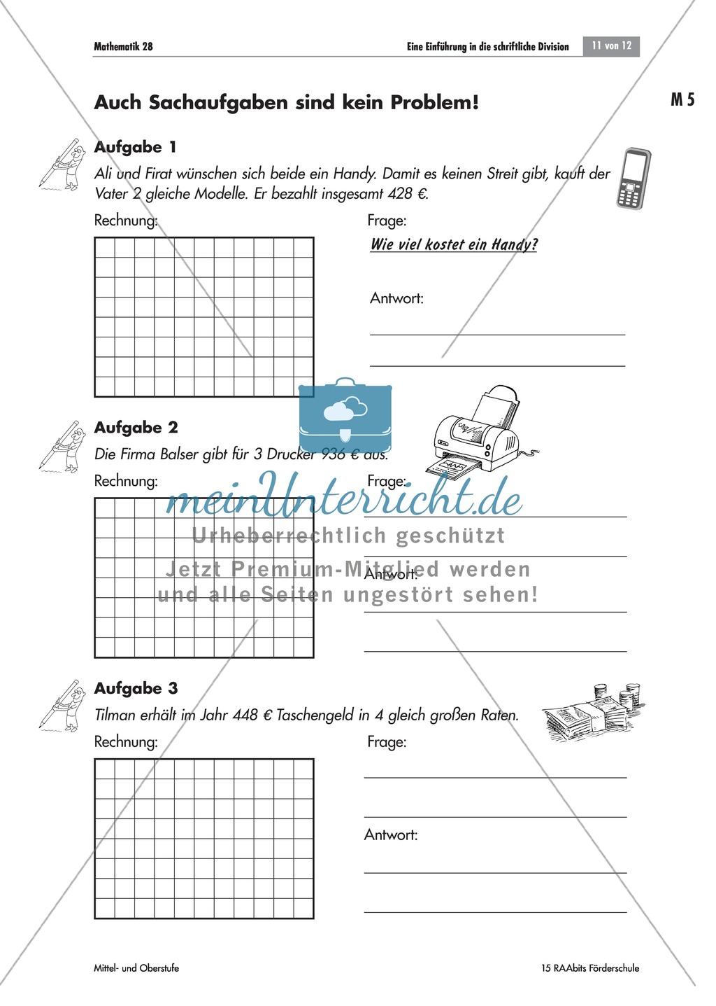 Schriftliche Division in Sachaufgaben: mathematische Beziehungen in ...