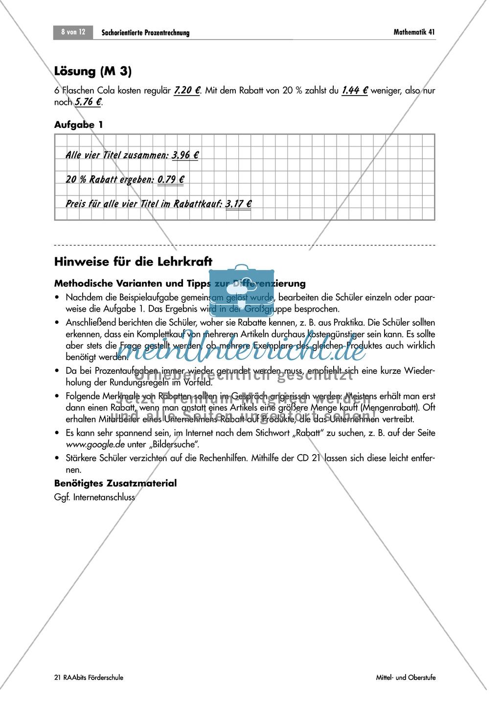 Sachorientierte Prozentrechnung: Aufgaben zu Rabatt, Skonto und ...