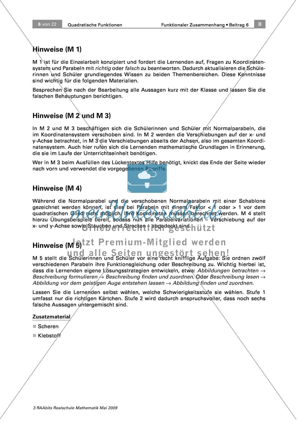 Spielerische Übungen zu quadratischen Funktionen: Koordinatensystem ...