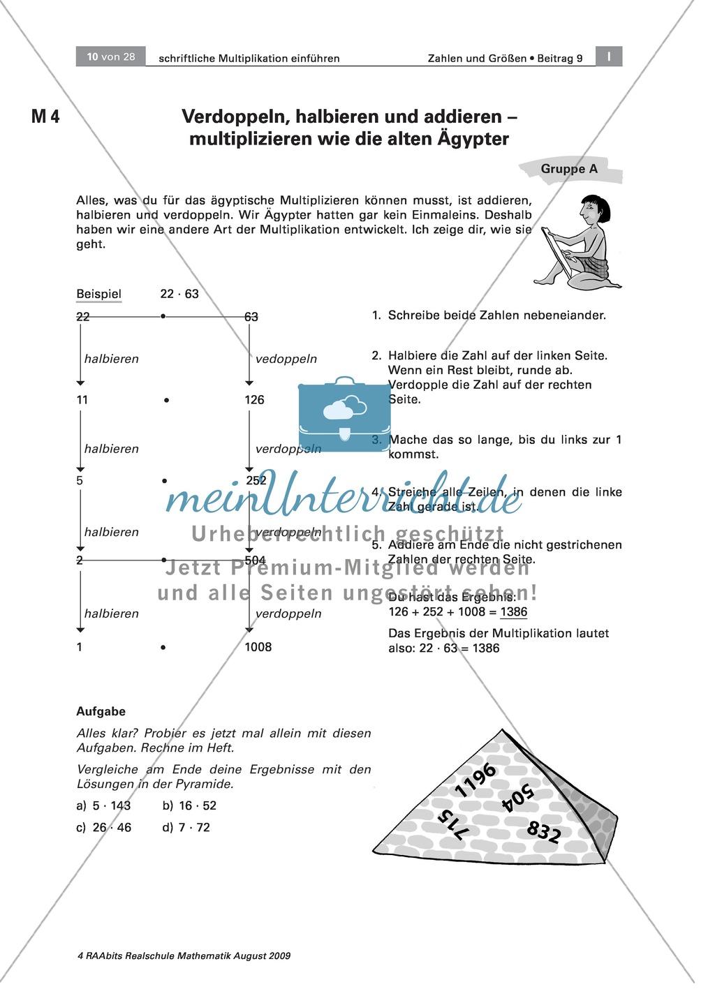 Verschiedene Multiplikationsverfahren kennen lernen: die ägyptische ...