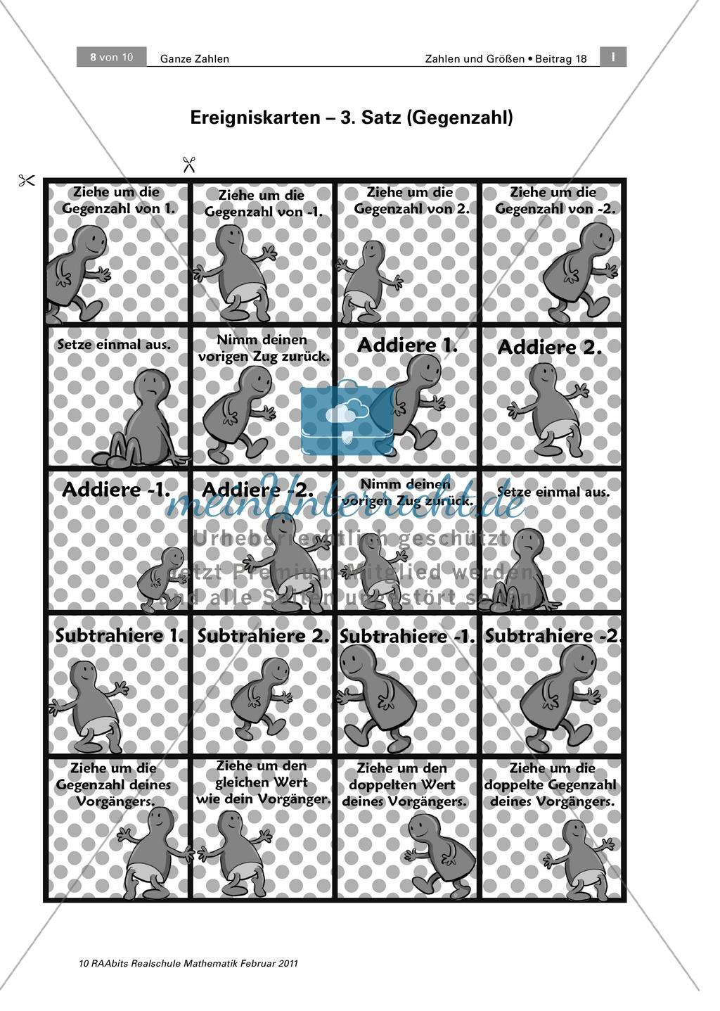 Addition und Subtraktion mit ganzen Zahlen: Spiel mit Ereigniskarten ...