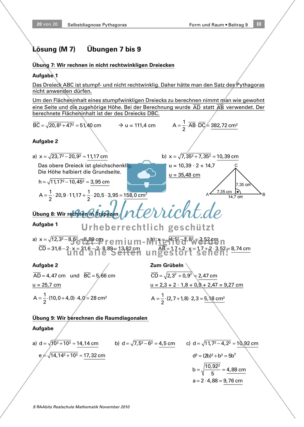 Alltagsrelevante Übungen zum Satz des Pythagoras: Pythagoras in ...