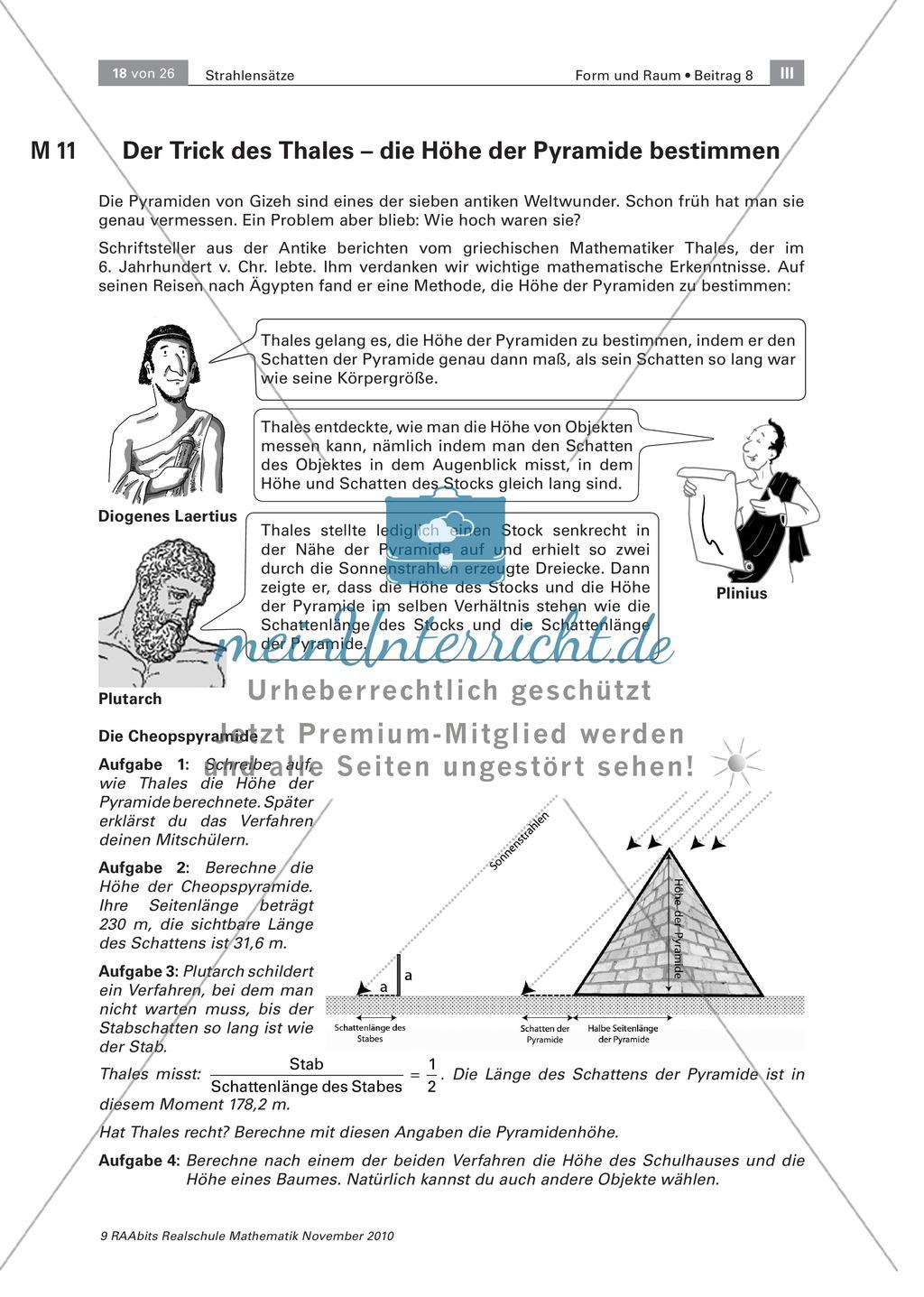 Bestimmung der Höhe einer Pyramide - Transfer zum Strahlensatz ...