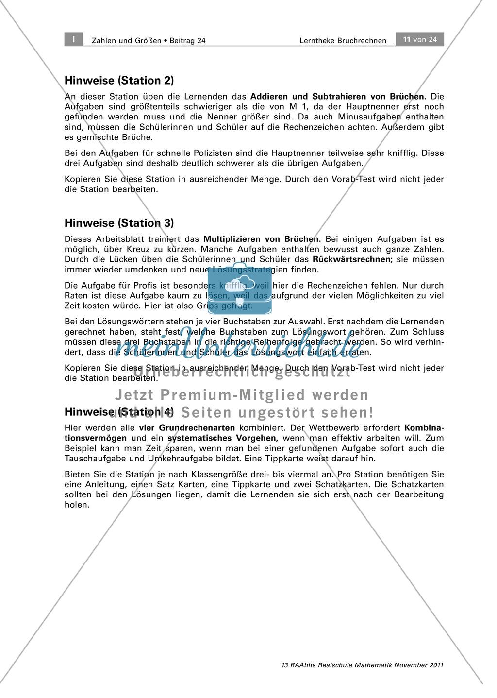 Stationenarbeit: Spielerische Aufgaben zum Bruchrechnen - meinUnterricht