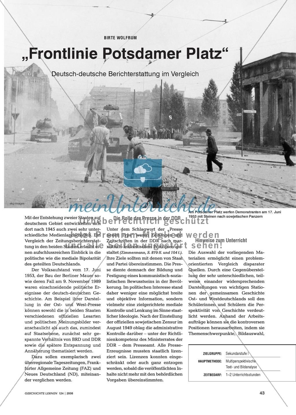 17. Juni 1953: Die Darstellung des Arbeiteraufstandes in der DDR in den zeitgenössischen Zeitungen der DDR und der Bundesrepublik Preview 0