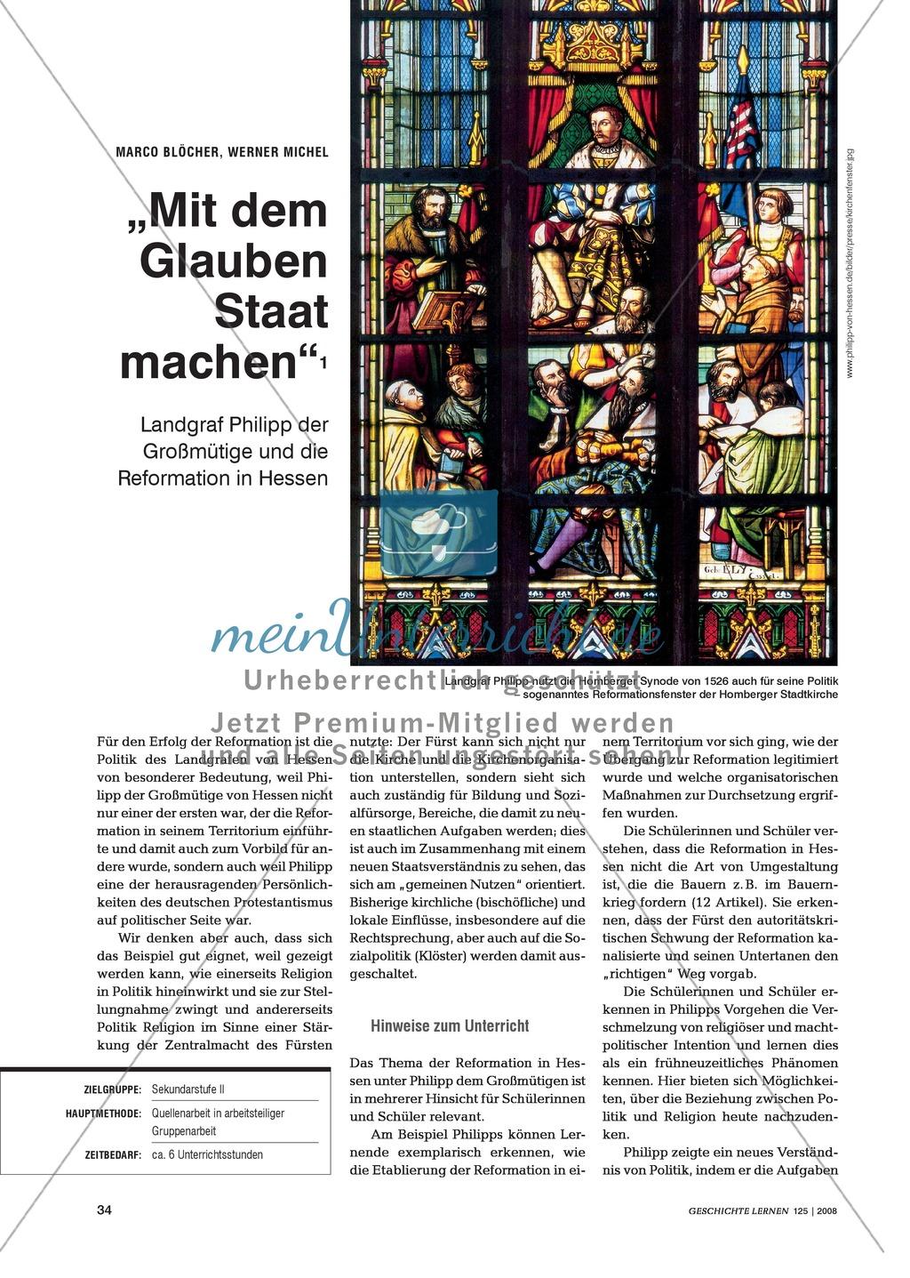 Marco Blöcher, Werner Michel: Quellenanalyse in arbeitsteiliger Gruppenarbeit zu den Auswirkungen der Reformation am Beispiel des Landgrafen Philipp von Hessen Preview 0