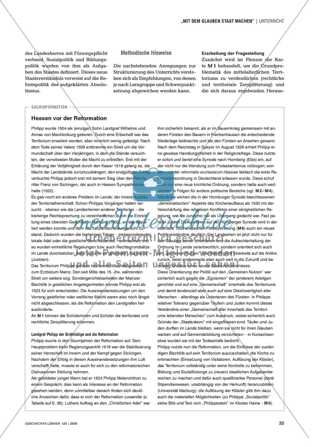 Marco Blöcher, Werner Michel: Quellenanalyse in arbeitsteiliger Gruppenarbeit zu den Auswirkungen der Reformation am Beispiel des Landgrafen Philipp von Hessen Preview 1