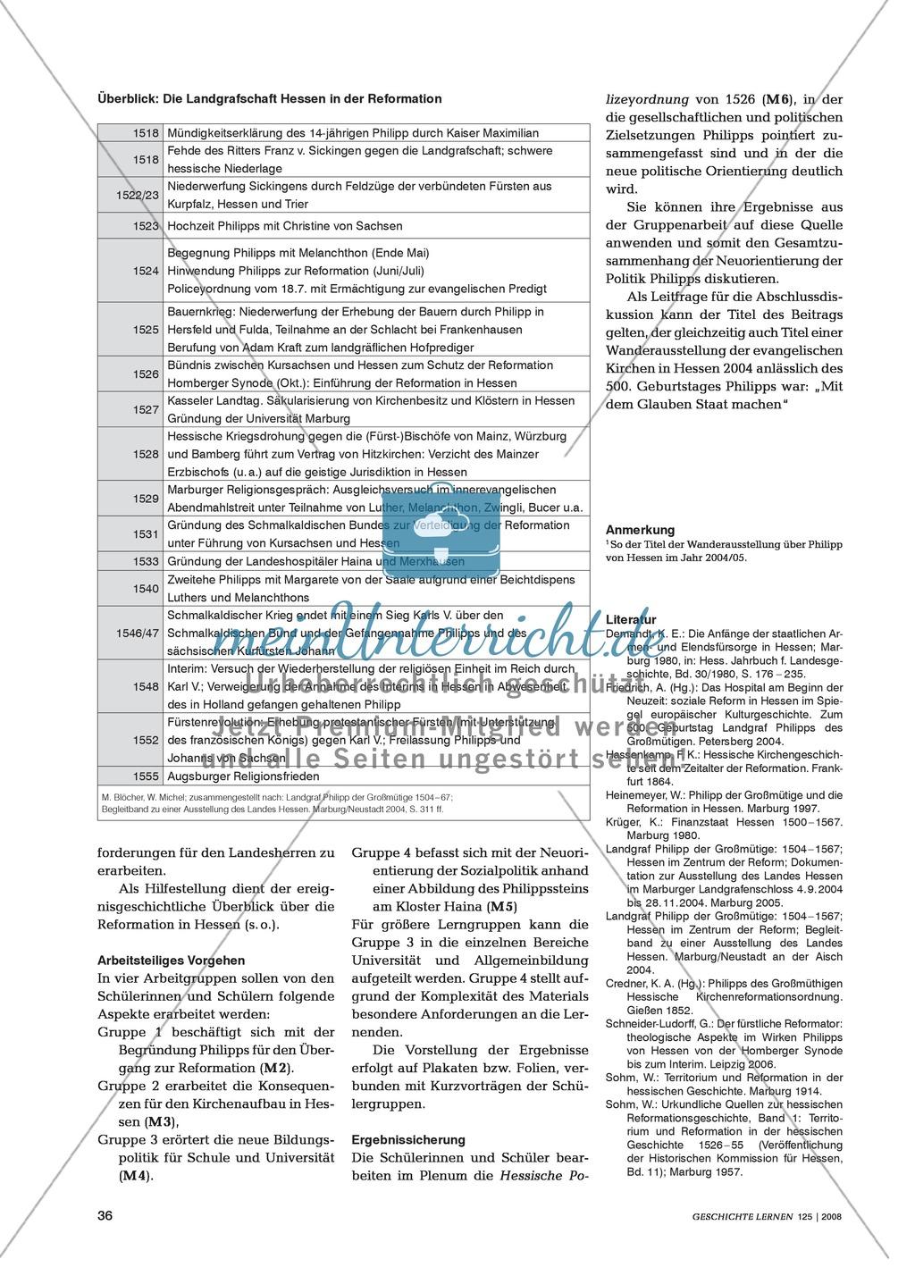 Marco Blöcher, Werner Michel: Quellenanalyse in arbeitsteiliger Gruppenarbeit zu den Auswirkungen der Reformation am Beispiel des Landgrafen Philipp von Hessen Preview 2