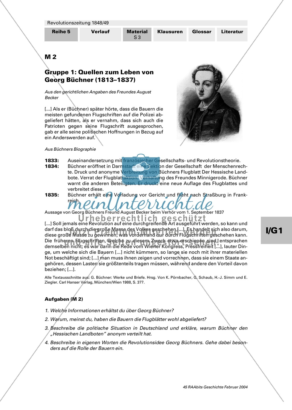 """Revolutionszeitung 1848/49 erstellen: Steckbrief Georg Büchner + Quellen zum Leben von Georg Büchner + Georg Büchner: """"Der Hessische Landbote"""" Preview 2"""