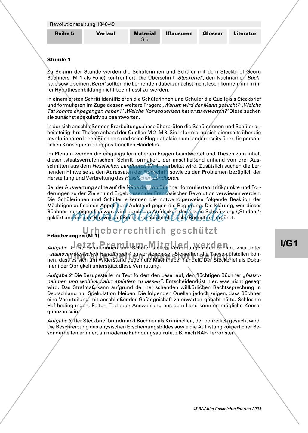 """Revolutionszeitung 1848/49 erstellen: Steckbrief Georg Büchner + Quellen zum Leben von Georg Büchner + Georg Büchner: """"Der Hessische Landbote"""" Preview 4"""