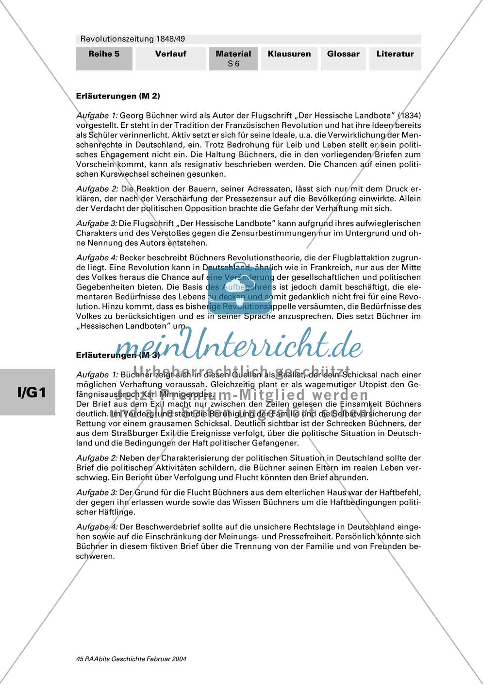 """Revolutionszeitung 1848/49 erstellen: Steckbrief Georg Büchner + Quellen zum Leben von Georg Büchner + Georg Büchner: """"Der Hessische Landbote"""" Preview 5"""