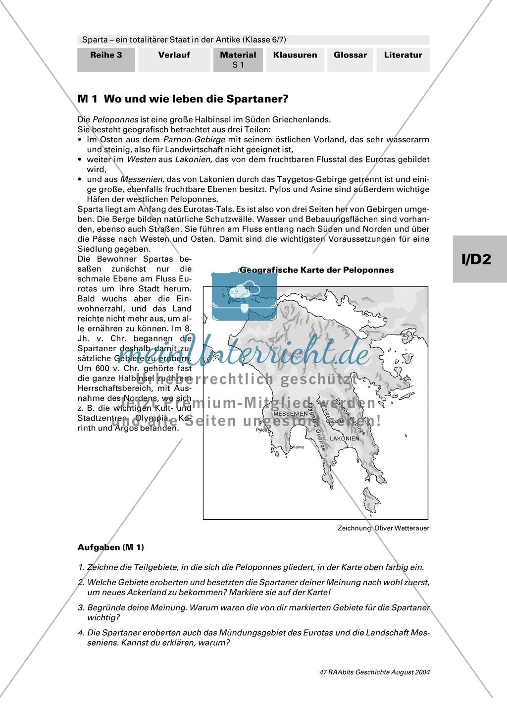 Sparta - ein totalitärer Staat in der Antike: Geografische Lage und ...