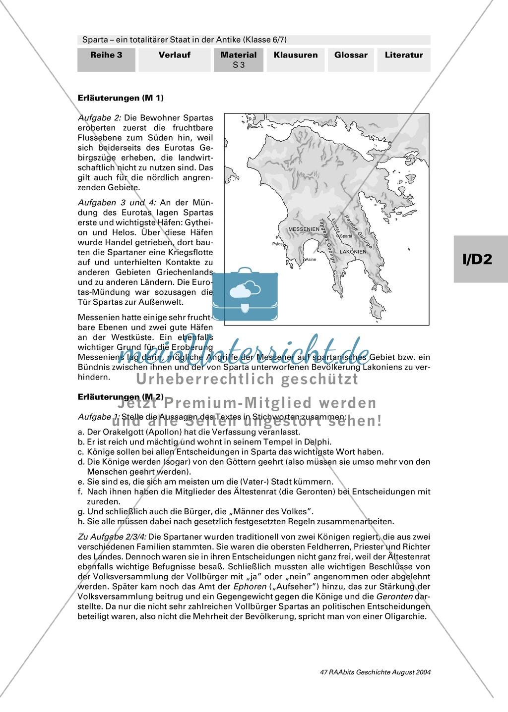 Sparta - ein totalitärer Staat in der Antike: Geografische Lage und Gesellschaft Preview 2