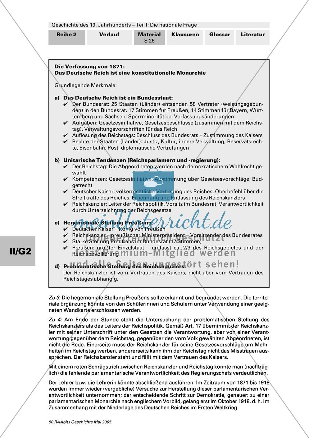 Geschichte des 19. Jahrhunderts: Die Verfassung des Deutschen Reiches von 1871 Preview 3
