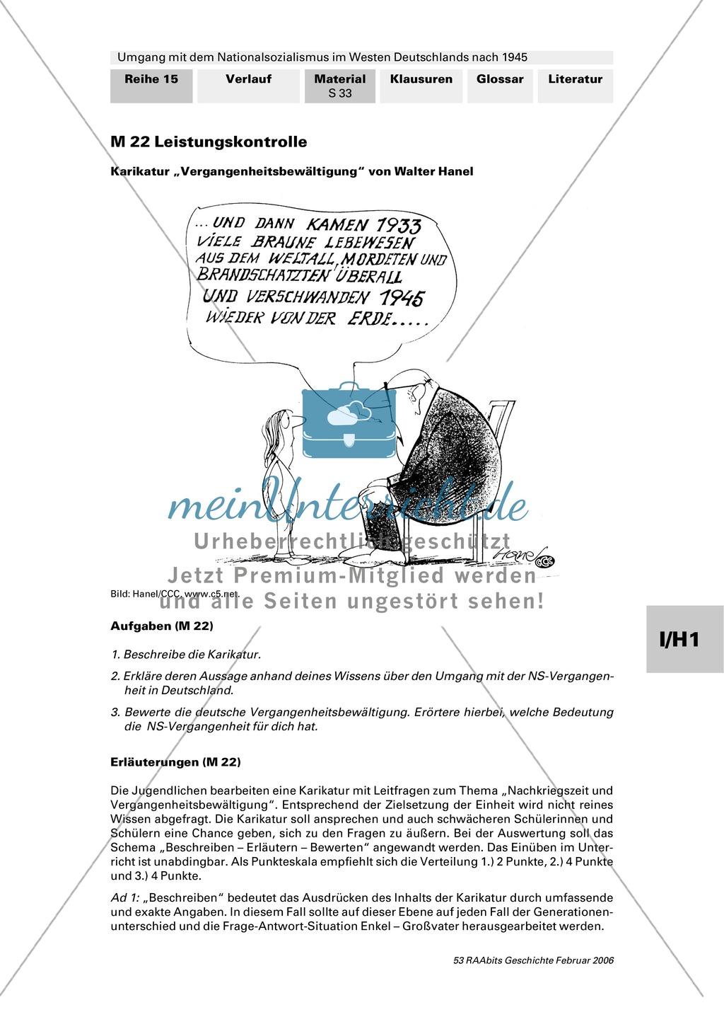 Umgang mit dem Nationalsozialismus im Westen Deutschlands nach 1945: Lernerfolgskontrolle anhand einer Karikatur Preview 0