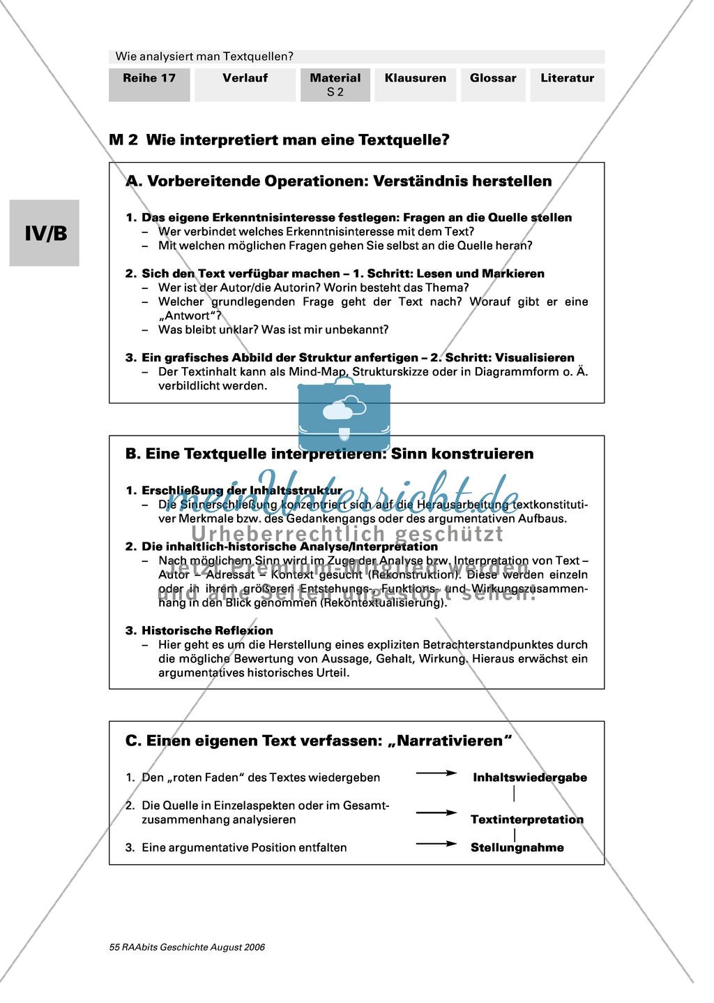 Analyse von Textquellen: Quellen in ihrem Kontext begreifen und deuten Preview 1