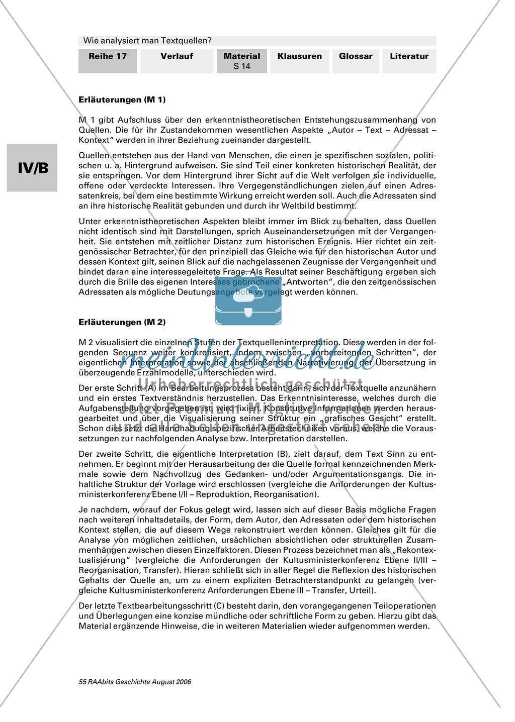 Analyse von Textquellen: Quellen in ihrem Kontext begreifen und deuten Preview 2